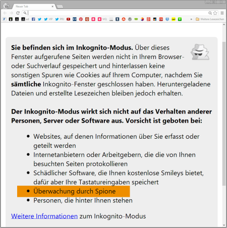 Google Chrome Pornomodus Warnung
