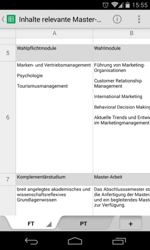 Screenshot Google Docs auf Android